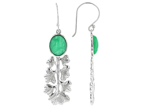 Photo of Pacific Style™ 10x8mm Oval Cabochon Jadeite Rhodium Over Sterling Silver Leaf Earrings