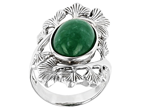 Photo of Pacific Style™ 14x10mm Oval Jadeite Rhodium Over Sterling Silver Leaf Ring - Size 8