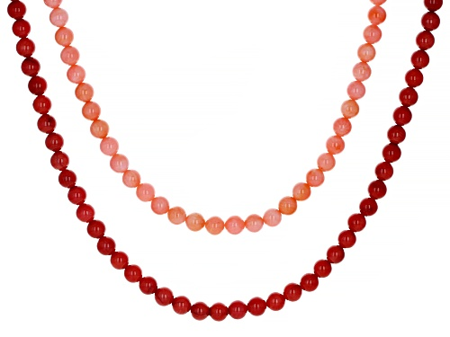 Photo of Pacific Style™ Red and Pink Sponge Coral Rhodium Over Sterling Silver Double Strand Necklace - Size 18