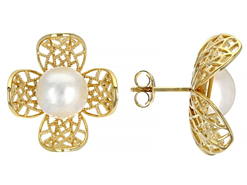 Photo of Pacific Style™ White Cultured Mabe Pearl 18K Gold Over Silver Flower Earrings