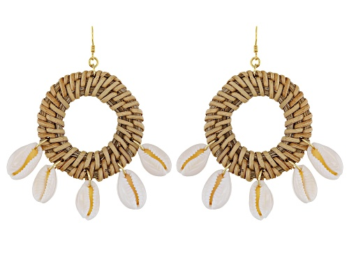 Photo of Pacific Style™ Rattan With 5 White Shells 18K Gold Over Silver Dangle Earrings