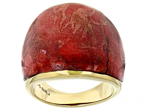 Photo of Pacific Style™ 14.45ct Red Coral 18K Yellow Gold Over Sterling Silver Dome Ring - Size 7