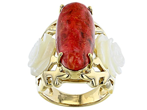 Photo of Pacific Style™ Oval Red Coral & Carved Mother-of-Pearl 18k Gold Over Sterling Silver Ring - Size 8