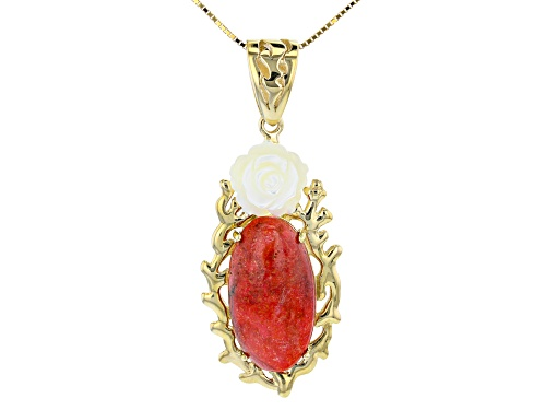 Photo of Pacific Style™ Coral & Carved Mother-of-Pearl 18k Gold Over Sterling Silver Pendant W/ Chain