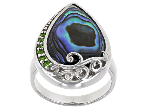 Photo of Pacific Style™ Pear Shape Abalone With Chrome Diopside Accent Rhodium Over Sterling Silver Ring - Size 7