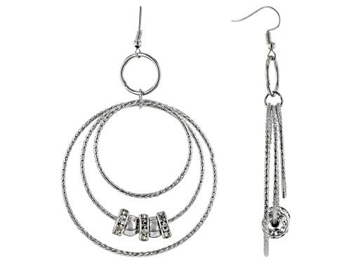 Photo of Paula Deen Jewelry™ Round White Crystal Silver Tone Graduated Spinner Hoop Earrings