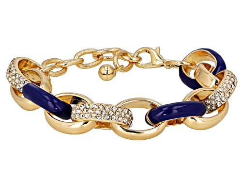 Photo of Paula Deen Jewelry™ Blue Enamel And White Crystal Gold Tone Nautical Link Bracelet - Size 7.5