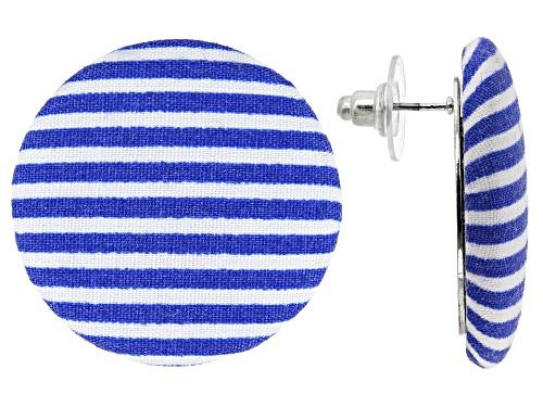 Paula Deen Jewelry™ Blue And White Nautical Stripe Fabric Silver Tone Stud Earrings