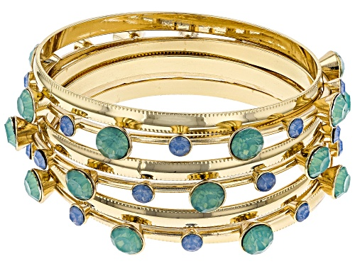 Photo of Paula Deen Jewelry™ Mint Green And Blue Crystal Gold Tone Bangle Bracelet Set Of Seven