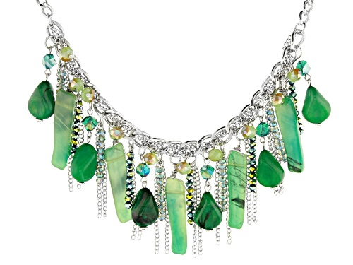 Photo of Paula Deen Jewelry™ Mixed Mint Green And Multicolor Bead Silver Tone Statement Necklace - Size 17
