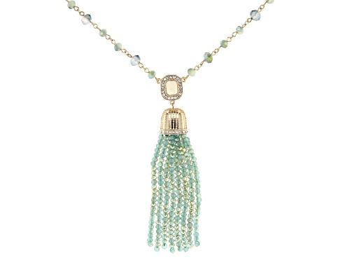 Photo of Paula Deen Jewelry™ Mint Green & Blue Bead, White Crystal, & White Enamel Gold Tone Tassel Necklace - Size 28