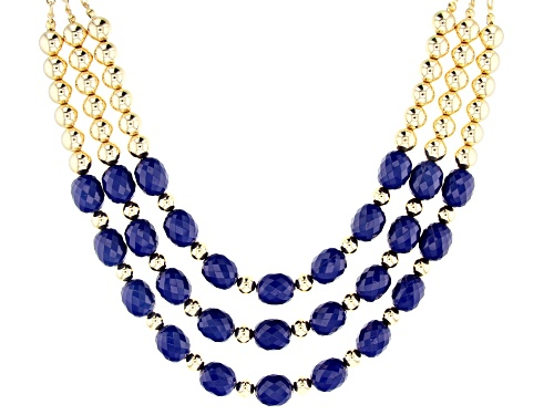 Photo of Paula Deen Jewelry™ 16x13mm Oval, Checkerboard Cut Blue Bead Gold Tone Multi-Strand Necklace - Size 20