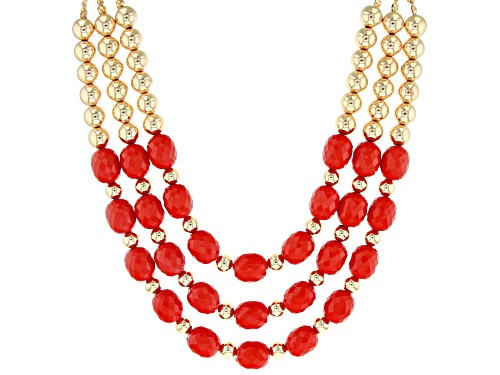 Photo of Paula Deen Jewelry™ 16x13mm Oval, Checkerboard Cut Red Bead Gold Tone Multi-Strand Necklace - Size 20