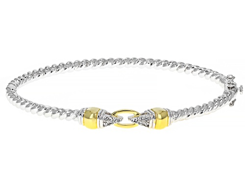 Photo of Paula Deen Jewelry™ White Crystal Rhodium And 18k Gold Over Brass Two Tone Bangle Bracelet - Size 8