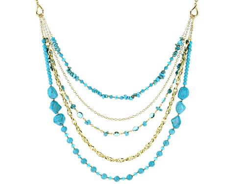 Photo of Paula Deen Jewelry™ Turquoise Simulant And Blue Crystal Gold Tone Multi-Row Necklace