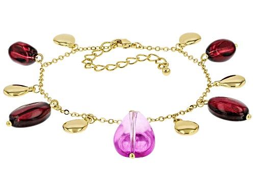 Photo of Paula Deen Jewelry™ Purple And Burgundy Bead Gold Tone Bracelet