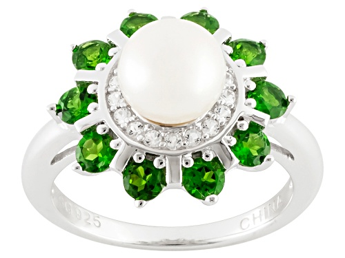 Photo of 7mm White Cultured Freshwater Pearl With White Topaz And Chrome Diopside Rhodium Over Silver Ring - Size 11