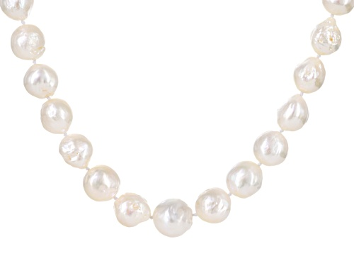 "Photo of Genusis Pearls™ 13-15mm Baroque White Cultured Freshwater Pearl Silver 20"" Strand Necklace - Size 20"
