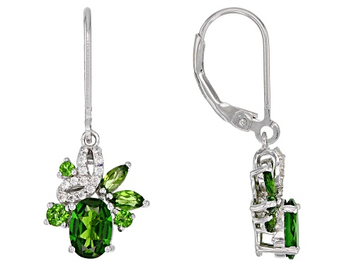 Photo of 2.06ctw Mixed Shape Chrome Diopside & .20ctw Zircon Rhodium Over Silver Earrings