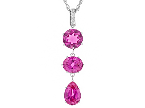 Photo of 12.85ctw Mixed Shaped Lab Created Pink Sapphire, .12ctw Zircon, Rhodium Over Silver Pendant W/ Chain