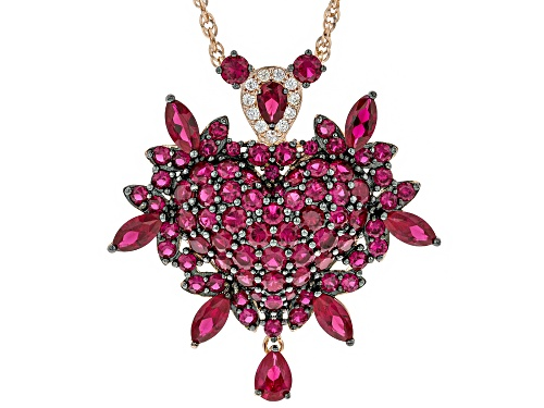 Photo of 13.64ctw Mixed Shaped Lab Created Ruby, .27ctw Zircon 18k Rose Gold Over Silver Pendant W/ Chain
