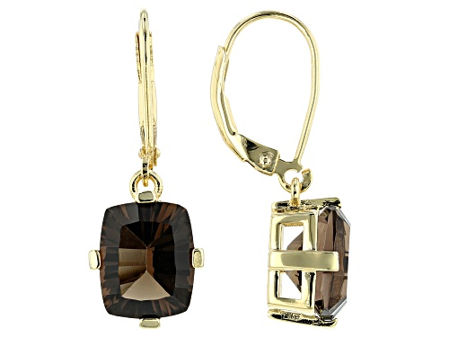 Photo of 4.93ctw Rectangular Cushion Smoky Quartz 18k Yellow Gold Over Silver Earrings