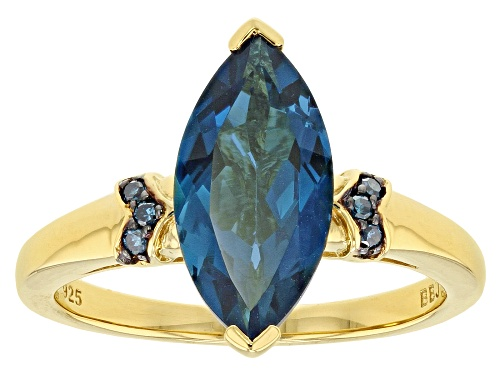 Photo of 2.80ct London Blue Topaz With .04ctw Blue Diamond Accent 18k Gold Over Sterling Silver Ring - Size 9