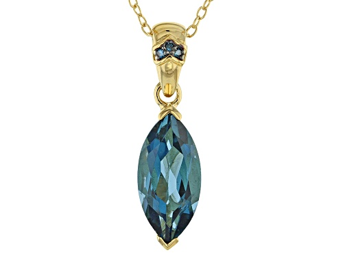 Photo of 2.80ct London Blue Topaz With .01ctw Blue Diamond Accent 18k Gold Over Silver Pendant With Chain