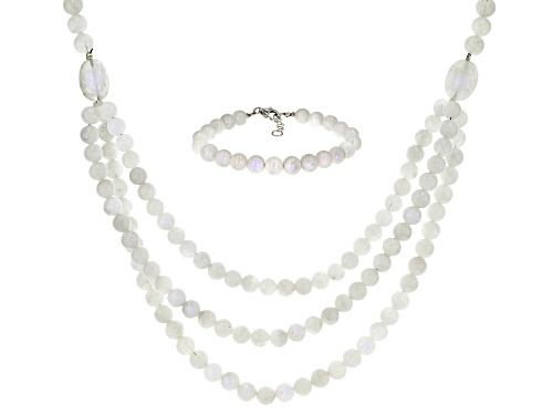 Photo of 14X12mm oval & 8mm round rainbow moonstone bead rhodium over silver necklace & bracelet set