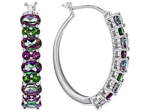 Photo of 4.93ctw Mystic Topaz(R), 1.15ctw Chrome Diopside & Rhodolite Rhodium Over Silver Hoop Earrings