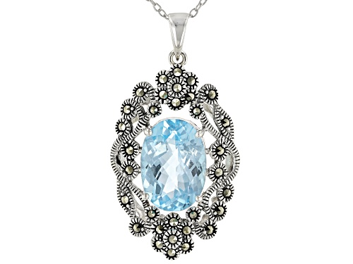 Photo of 6.33CT OVAL GLACIER TOPAZ(TM) WITH ROUND MARCASITE RHODIUM OVER SILVER PENDANT WITH CHAIN