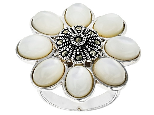 Photo of 8X6mm oval white mother-of-pearl with round marcasite rhodium over sterling silver ring - Size 5