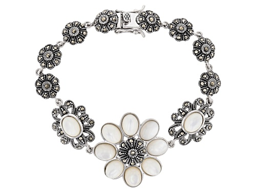 Photo of 8X6mm oval white mother-of-pearl with round marcasite rhodium over sterling silver floral bracelet - Size 8