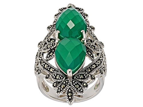 Photo of 14x9mm pear shape green agate with round marcasite rhodium over sterling silver 2-stone ring - Size 5