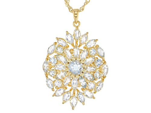 Photo of 1.43ctw Round & 2.86ctw Marquise Brazilian Aquamarine 18k Gold Over Silver Cluster Pendant W/ Chain