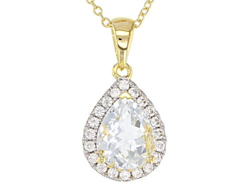 Photo of 1.71ct Aquamarine With .37ctw Zircon 18k Yellow Gold Over Sterling Silver Pendant With Chain