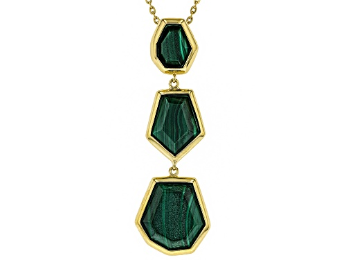 "Photo of Fancy cut malachite 3-stone 18k gold over silver bolo necklace adjusts to approximately 27"" - Size 28"