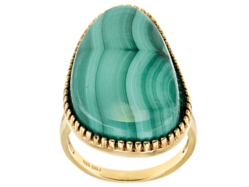 Photo of 25X16mm fancy cut cabochon malachite solitaire 18k yellow gold over sterling silver ring - Size 7