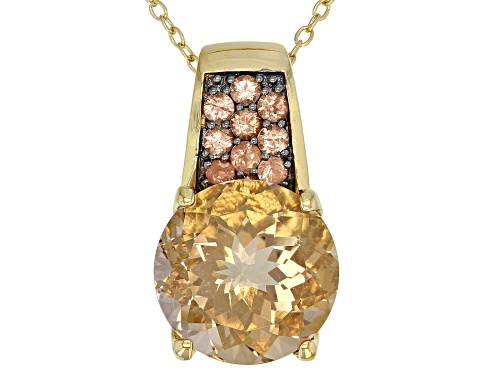 Photo of 5.89ct champagne quartz with .32ctw andalusite 18k gold over sterling silver pendant with chain