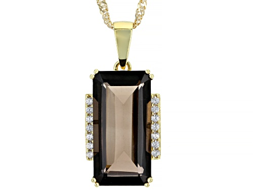 Photo of 8.62ct Smoky Quartz With .25ctw Zircon 18k Yellow Gold Over Sterling Silver Pendant With Chain