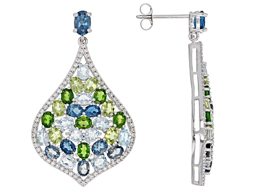 Photo of 12.35ctw Oval & Round Multi-Gemstone Rhodium Over Silver Chandelier Earrings
