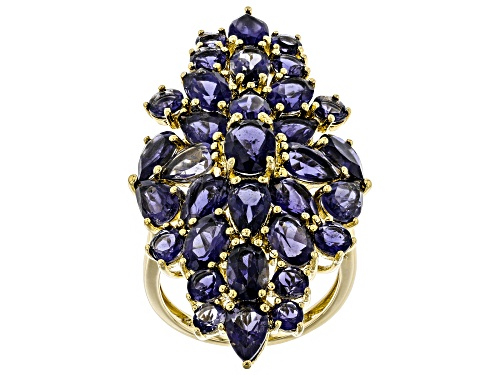 Photo of 8.00ctw Mixed Shapes Iolite 18k Yellow Gold Over Silver Cluster Ring - Size 7