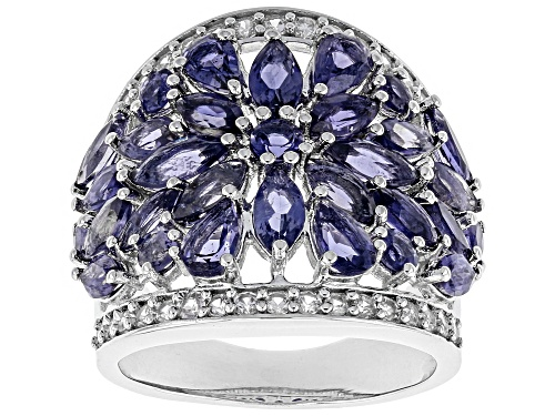 Photo of 3.38ctw pear shape, marquise & round iolite with .58ctw round white zircon rhodium over silver ring - Size 8