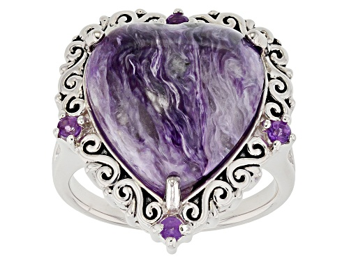 Photo of 16X15mm charoite with .11ctw African amethyst rhodium over sterling silver ring - Size 7