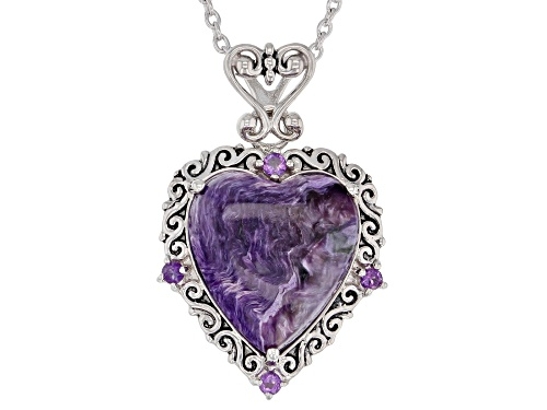 Photo of 16X15mm charoite with .11ctw African amethyst rhodium over silver heart pendant with chain