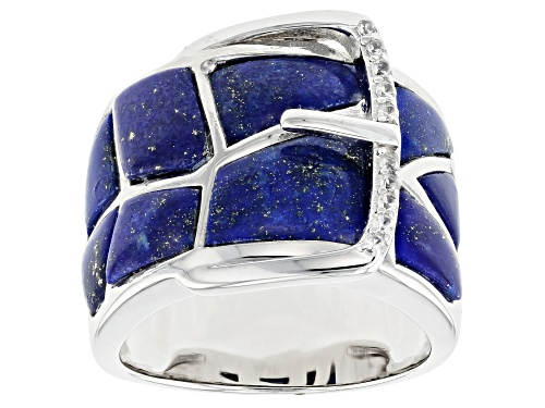 Photo of Free-Form Lapis Lazuli With .08ctw Zircon Rhodium Over Sterling Silver Belt Band Ring - Size 5