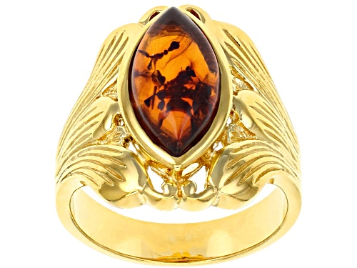 Photo of 14x7mm Marquise Amber 18k Yellow Gold Over Sterling Silver Solitaire Ring - Size 7