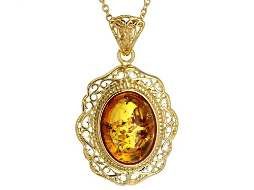 Photo of 16X12mm oval cabochon amber solitaire 18k yellow gold over sterling silver pendant with chain