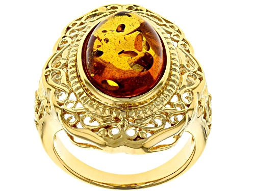 Photo of 14X10mm oval cabochon amber solitaire 18k yellow gold over sterling silver ring - Size 6