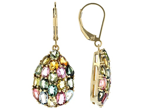 Photo of 5.53ctw mixed shape multi-color tourmaline 18k yellow gold over silver dangle earrings